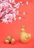 Año del gallo, gallo del oro Foto de archivo libre de regalías