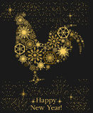 Año del gallo Gallo del ` s del Año Nuevo del oro en un fondo negro libre illustration
