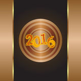 Año del mono 2016 - tarjeta de felicitación del oro letra del Año Nuevo Fotografía de archivo libre de regalías