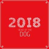 Año del perro de la tierra Figuras de las pistas del perro Huellas de un perro en un fondo blanco Ejemplo del vector en un estilo Fotografía de archivo