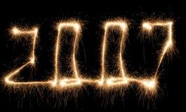 Año del sparkler de Digitaces Fotos de archivo