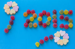 Año 2015 deletreado con el caramelo Imagenes de archivo