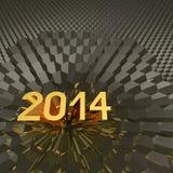 Año 2014 en fondo hexagonal metálico Fotos de archivo libres de regalías