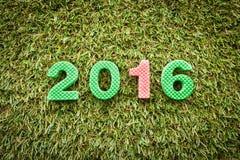 Año 2016 en hierba artificial Imagenes de archivo