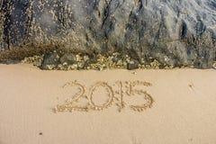 Año 2015 en la playa Foto de archivo libre de regalías