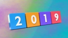 Año 2019 en la representación de los cubos 3d Imagen de archivo libre de regalías
