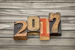 Año 2017 en tipo de madera de la prensa de copiar Fotografía de archivo