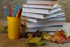 Año escolar de las hojas de los libros de texto Imágenes de archivo libres de regalías