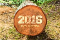Año 2016 escrito con los bloques de impresión de la prensa de copiar del vintage en fondo de madera rústico Fotos de archivo