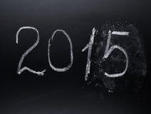 Año número 2015 escrito en el tablero Imagen de archivo libre de regalías