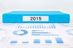 Año número 2015, gráficos, cartas e informes del análisis financiero Foto de archivo libre de regalías