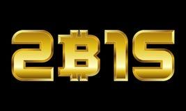 Año 2015, números de oro con símbolo de moneda del bitcoin Foto de archivo libre de regalías