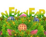 Año Nuevo, árbol de navidad con los juguetes aislados en un fondo blanco. Fotografía de archivo libre de regalías
