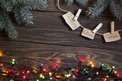 Año Nuevo, árbol de navidad y guirnalda Imagen de archivo
