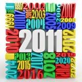 Año Nuevo 2011. Cubo que consiste en los números Fotos de archivo