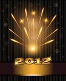 Año Nuevo 2012 de la enhorabuena de los fuegos artificiales Fotografía de archivo