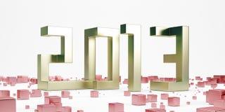 Año Nuevo 2013 del oro con los cubos rojos Imagenes de archivo