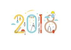 Año Nuevo 2018 stock de ilustración