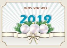 Año Nuevo 2019 Bandera con la fecha de 2019 con las bolas en el fondo de los rayos ilustración del vector
