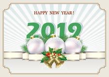 Año Nuevo 2019 Bandera 2019 de la Navidad con la bola y las campanas de plata Ilustración del vector ilustración del vector