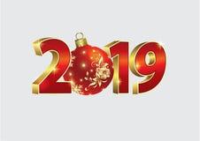Año Nuevo 2019 Bandera 2019 de la Navidad con un estampado de flores adornado bola Ilustración del vector stock de ilustración