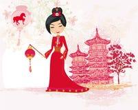 Año Nuevo chino celebrado geisha Foto de archivo