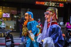 Año Nuevo chino, creencias populares en Taiwán, el desfile del templo del festival de linterna, dios enorme incluso, Foto de archivo