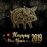 Año Nuevo chino de la tarjeta del cerdo en el cielo del fuego artificial ilustración del vector