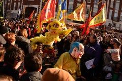Año Nuevo chino de Liverpool - tigre del baile Imagenes de archivo