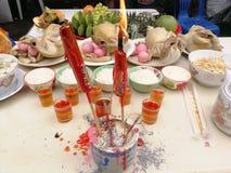 Año Nuevo chino de ofrecimiento sacrificatorio Imagen de archivo