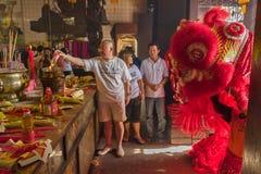 Año Nuevo chino de Penang, la danza de leones Foto de archivo libre de regalías