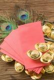 Año Nuevo chino del oro chino y del sobre rojo Imagen de archivo