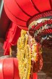 Año Nuevo chino, detalle de linternas rojas chinas Fotografía de archivo