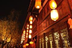 Año Nuevo chino en la calle vieja de Jinli Fotografía de archivo