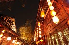 Año Nuevo chino en la calle vieja de Jinli Fotografía de archivo libre de regalías