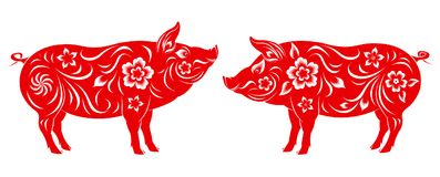 Año Nuevo chino feliz 2019 años del cerdo libre illustration