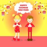 Año Nuevo chino feliz, concepto asiático del festival de la cultura con el hombre y mujer en cheongsam y linterna rojos libre illustration