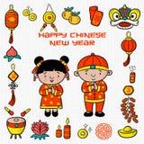 Año Nuevo chino feliz del modelo del garabato con el ejemplo de la historieta, tarjeta de felicitación, el carácter chino es lucr ilustración del vector