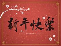 Año Nuevo chino feliz en palabras del chino tradicional