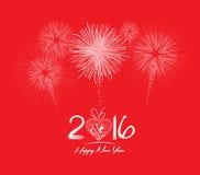 ¡Año Nuevo chino feliz 2016! Fuego artificial Foto de archivo