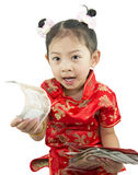 Año Nuevo chino feliz Muchacha asiática linda en chino de la tradición Fotos de archivo