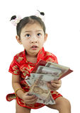 Año Nuevo chino feliz Muchacha asiática linda en chino de la tradición Foto de archivo