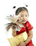 Año Nuevo chino feliz Muchacha asiática linda en chino de la tradición Imágenes de archivo libres de regalías