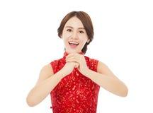 Año Nuevo chino feliz mujer asiática hermosa con la enhorabuena Imagen de archivo