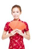 Año Nuevo chino feliz Mujer asiática joven Imagen de archivo libre de regalías
