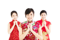 Año Nuevo chino feliz Mujer con gesto de la enhorabuena Fotografía de archivo libre de regalías