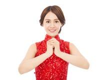 Año Nuevo chino feliz mujer hermosa con la enhorabuena Imágenes de archivo libres de regalías