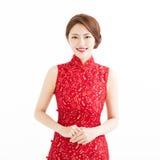 Año Nuevo chino feliz, mujer joven sonriente hermosa Fotografía de archivo