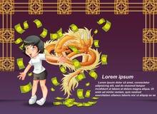Año Nuevo chino feliz y dragón stock de ilustración