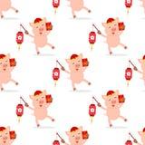 Año Nuevo chino inconsútil Celebre el año de cerdo stock de ilustración